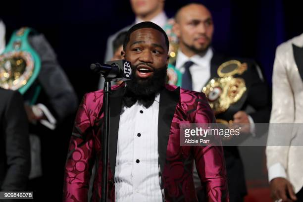 Adrien Broner addresses the media during the 2018 Showtime Championship Boxing Event at Cipriani 42nd Street on January 24 2018 in New York City