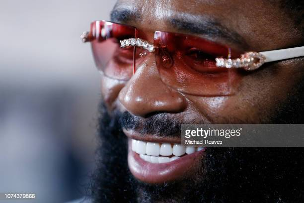 Adrien Broner answers questions from the media at the 5th Street Gym on December 18 2018 in Miami Florida Broner is scheduled to fight Manny Pacquiao...