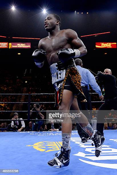 Adrien Broner celebrates after defeating John Molina Jr in a Premier Boxing Champions bout in the MGM Grand Garden Arena on March 7 2015 in Las Vegas...
