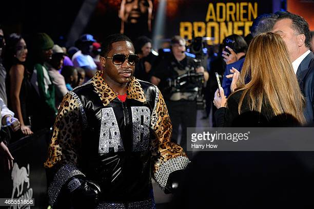 Adrien Broner enters the arena prior to a Premier Boxing Champions bout against John Molina Jr in the MGM Grand Garden Arena on March 7 2015 in Las...