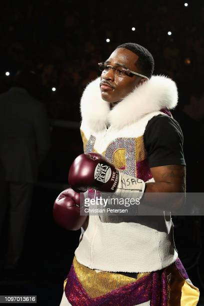 Adrien Broner enters the ring before the WBA welterweight championship against Manny Pacquiao at MGM Grand Garden Arena on January 19 2019 in Las...
