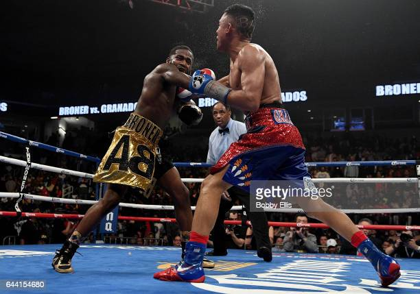 Adrien Broner left and Adrian Granados land body blows on each other during their fight at the Cintas Center on February 18 2017 in Cincinnati Ohio