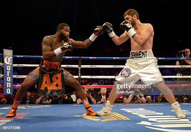 Adrien Broner left and Khabib Allakhverdiev square off during a fight at US Bank Arena on October 3 2015 in Cincinnati Ohio