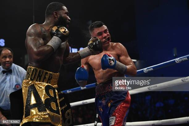 Adrien Broner left hits Adrian Granados during their fight at Centas Center on February 18 2017 in Cincinnati Ohio