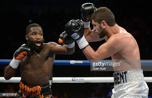 Adrien Broner left takes a swing at Khabib Allakhverdiev during a fight at US Bank Arena on October 3 2015 in Cincinnati Ohio