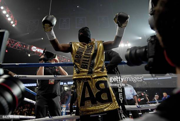 Adrien Broner poses before entering the ring to fight Adrian Granados on February 18 2017 in Cincinnati Ohio