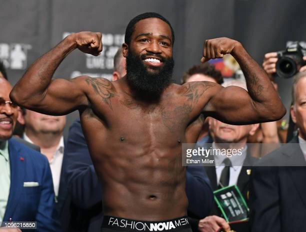 Adrien Broner poses on the scale during his official weighin at MGM Grand Garden Arena on January 18 2019 in Las Vegas Nevada Broner will challenge...