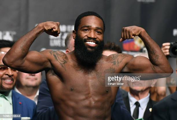 Adrien Broner poses on the scale during his official weigh-in at MGM Grand Garden Arena on January 18, 2019 in Las Vegas, Nevada. Broner will...