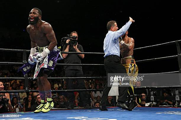 Adrien Broner reacts after defeating Ashley Theophane by TKO in ninth round in their super lightweight championship bout at the DC Armory on April 1,...