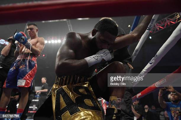 Adrien Broner right reacts after beating Adrian Granados in their fight at Cintas Center on February 18 2017 in Cincinnati Ohio