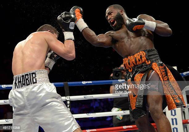 Adrien Broner right takes an uppercut swing at Khabib Allakhverdiev during a fight at US Bank Arena on October 4 2015 in Cincinnati Ohio