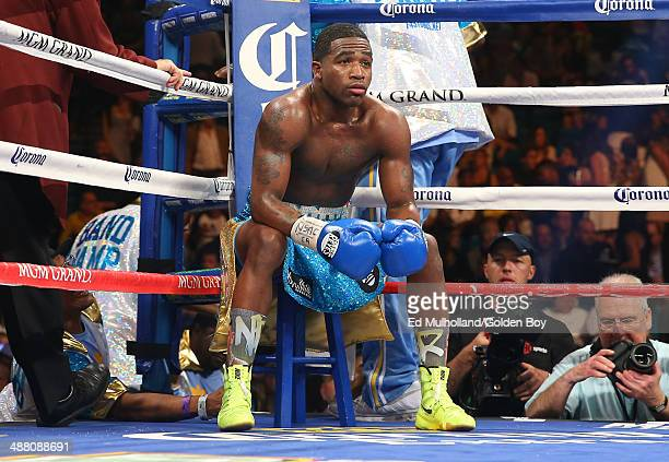 Adrien Broner sits in his corner between rounds of his bout against Carlos Molina at the MGM Grand Garden Arena on May 3 2014 in Las Vegas Nevada