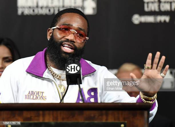 Adrien Broner speaks during a news conference at MGM Grand Hotel Casino on January 16 2019 in Las Vegas Nevada Broner will challenge WBA welterweight...