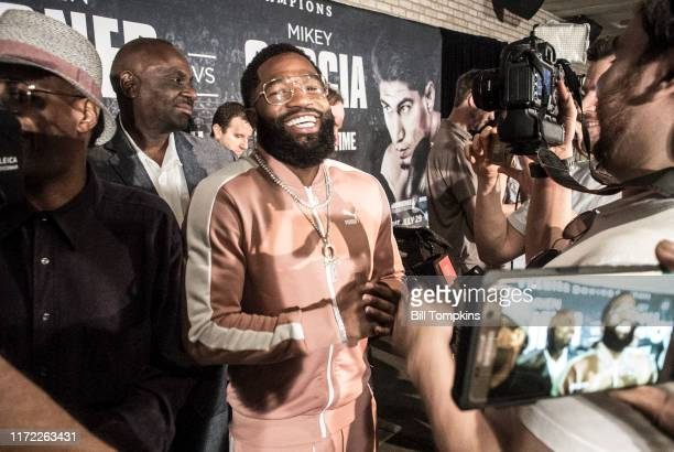 June 19: Adrien Broner speaks during the Adrien Broner vs Mikey Garcia Welterweight press conference at the Dream Hotel June 19, 2017 in New York...