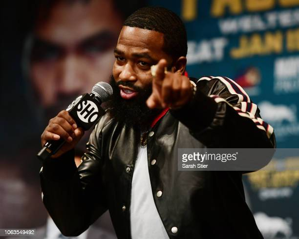 Adrien Broner speaks to the audience during a press conference at Gotham Hall in preparation for his upcoming match against Manny Pacquiao on...