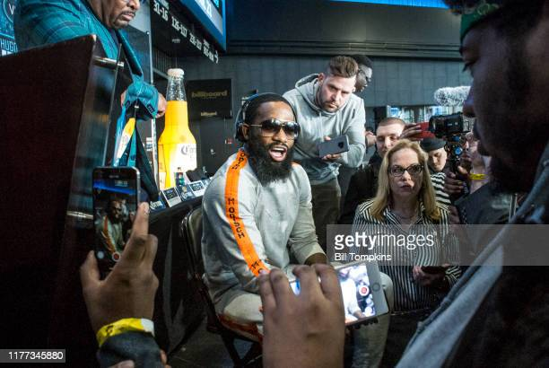Adrien Broner speaks to the media during the Final Press conference for his upcoming fight against Jesse Vargas at Barclays Center on April 19, 2018...