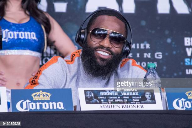 Adrien Broner speaks to the meida during the Final press Conference for his upcoming Welterweight fight against Jesse Vargas at Barclays Center on...