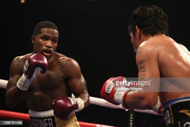 Adrien Broner squares up with Manny Pacquiao during the WBA welterweight championship at MGM Grand Garden Arena on January 19 2019 in Las Vegas Nevada