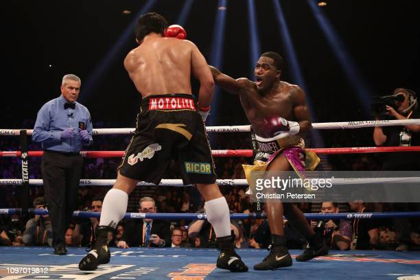 Adrien Broner throws a right on Manny Pacquiao during the WBA welterweight championship at MGM Grand Garden Arena on January 19 2019 in Las Vegas...