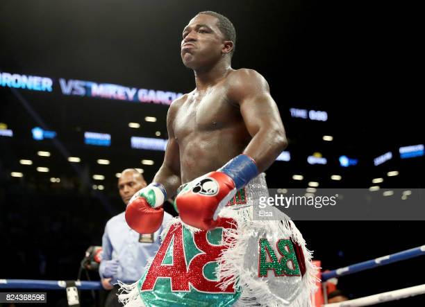 Adrien Broner walks back to his corner after the third round against Mikey Garcia during their Junior Welterwight bout on July 29 2017 at the...
