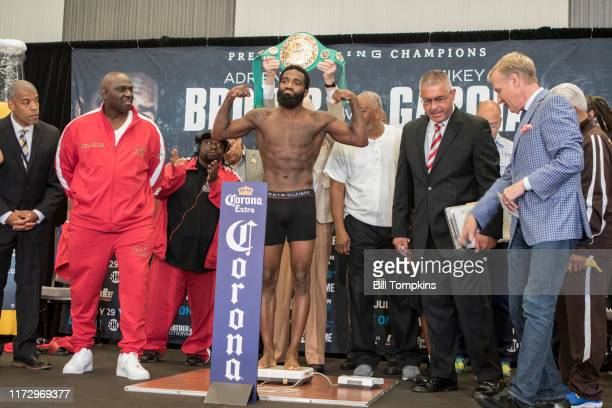July 28: Adrien Broner weighs in at the Adrien Broner vs Mikey Garcia Official Weigh In at the Marriot Hotel July 28, 2017 in Brooklyn, New York.