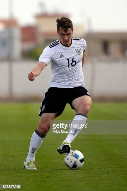 Adrien Fein of Germany in action during the U19 International Friendly between U19 Cyprus and U19 Germany at Anagennisi Dherynia Stadium on November...