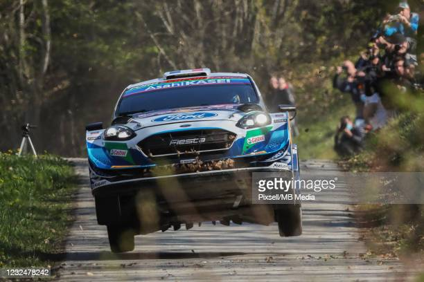 Adrien Fourmaux of France and Renaud Jamoul of Belgium compete with their M-Sport Ford World Rally Team Ford Fiesta WRC during Day One of the FIA...