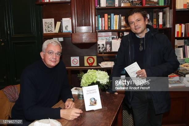 "Adrien Goetz and artist Jean-Michel Othoniel attend Adrien Goetz signs his book ""Intrigue in Egypt - Intrigue en Egypte"" at Librairie Galignani on..."