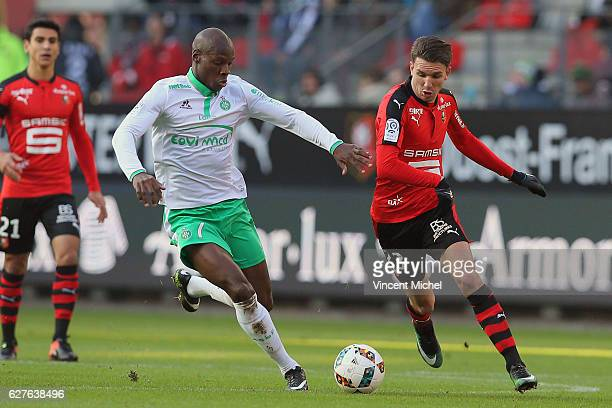 Adrien Hunou of Rennes and Bryan Dabo of Saint-Etienne during the Ligue 1 match between Stade Rennais and AS Saint-Etienne at Roazhon Park on...