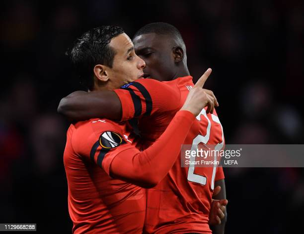 Adrien Hunou of Rennes celebrates scoring the first goal during the UEFA Europa League Round of 32 First Leg match between Stade Rennais and Real...