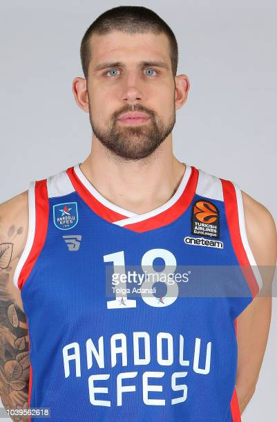 Adrien Moerman #18 of Anadolu Efes Istanbul poses during the Anadolu Efes Istanbul 2018/2019 Turkish Airlines EuroLeague Media Day at Sinan Erdem...
