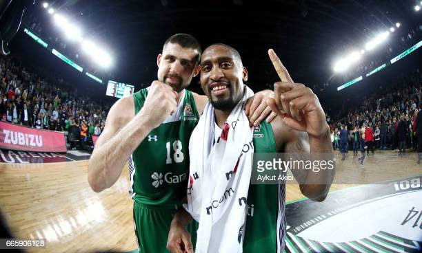 Adrien Moerman #18 of Darussafaka Dogus Istanbul and Bradley Wanamaker #11 of Darussafaka Dogus Istanbul celebrate victory during the 2016/2017...