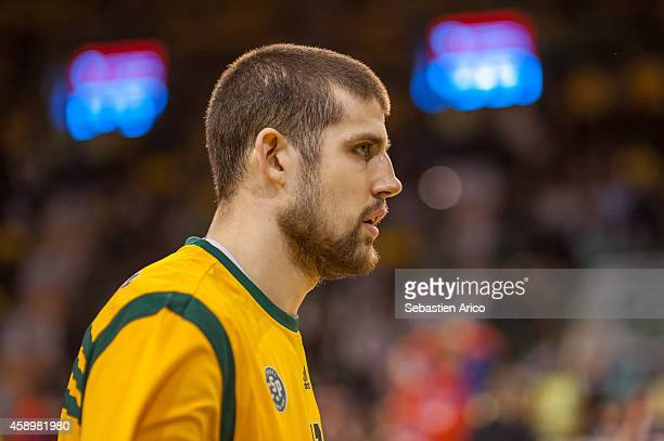 Adrien Moerman #18 of Limoges CSP looks on during the 20142015 Turkish Airlines Euroleague Basketball Regular Season Date 5 game between Limoges CSP...