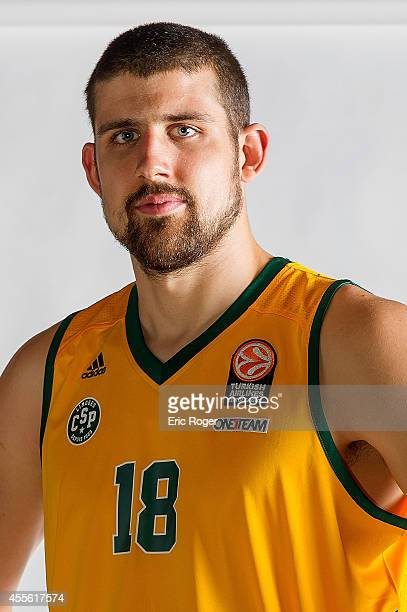 Adrien Moerman #18 of Limoges CSP poses during the Limoges CSP 2014/2015 Turkish Airlines Euroleague Basketball Media Day at Beaublanc on September...