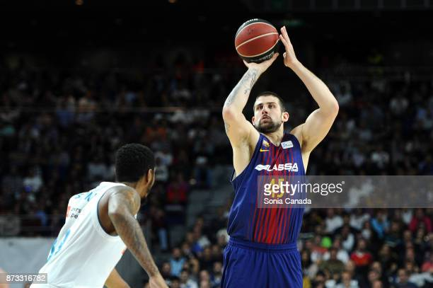 Adrien Moerman #45 guard of FC Barcelona Lassa during the Liga Endesa game between Real Madrid and FCB Lassa at Wizink Center on November 12 2017 in...