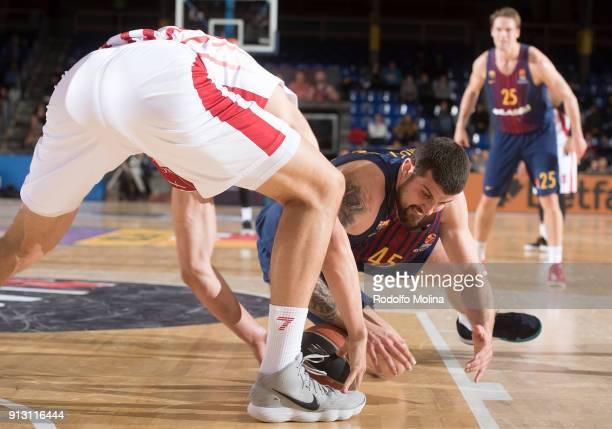 Adrien Moerman #45 of FC Barcelona Lassa in action during the 2017/2018 Turkish Airlines EuroLeague Regular Season Round 21 game between FC Barcelona...
