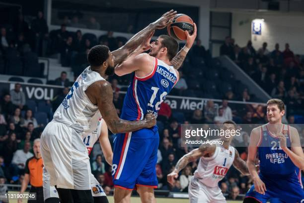 Adrien Moerman of Anadolu Efes in action during a Turkish Airlines Euroleague week 28 match between Buducnost VOLI and Anadolu Efes at Moraca Sports...