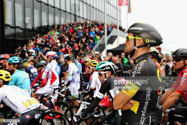 Adrien Petit of France and Direct Energie prepares at the start of stage two of the 2017 Tour de France a 2035km road stage from Dusseldorf to Liege...