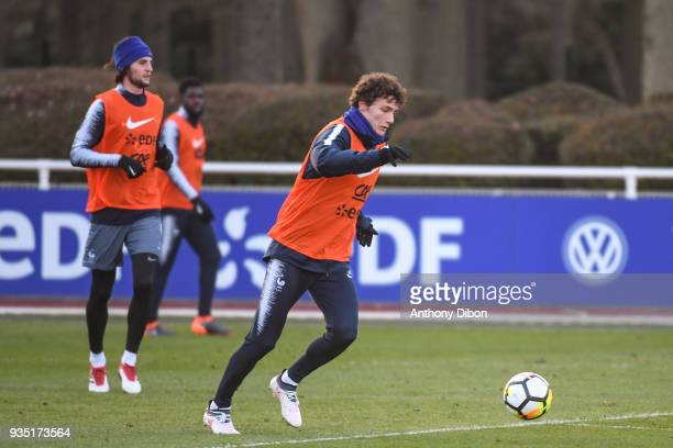 Adrien Rabiot and Benjamin Pavard of France during training session at Centre National du Football on March 20 2018 in Clairefontaine en Yvelines...