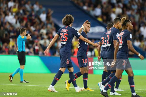 Adrien Rabiot celebrate his goal with Neymar Jr of PSG during the French Ligue 1 match between Paris Saint Germain and Caen at Parc des Princes on...