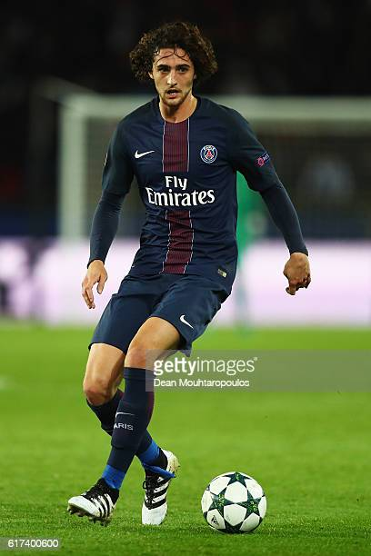 Adrien Rabiot in action during the Group A UEFA Champions League match between Paris SaintGermain Football Club and Fussball Club Basel 1893 at Parc...
