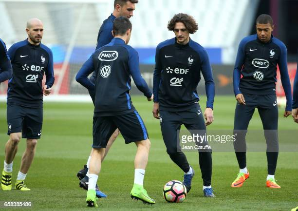 Adrien Rabiot of France during the training session on the eve of the international friendly match between France and Spain at Stade de France on...