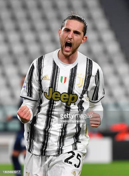 Adrien Rabiot of Juventus celebrates after scoring their team's first goal during the Serie A match between Juventus and SS Lazio at Allianz Stadium...