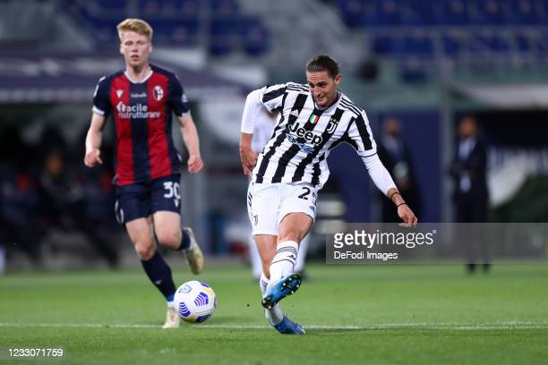 Adrien Rabiot of Juventus Fc scores his team's third goal during the Serie A match between Bologna FC and Juventus at Stadio Renato Dall'Ara on May...