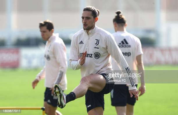 Adrien Rabiot of Juventus FC trains during Juventus FC training session at JTC on February 24, 2021 in Turin, Italy.