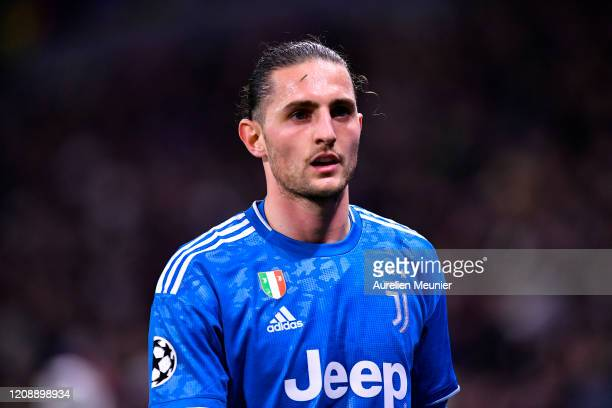 Adrien Rabiot of Juventus looks on during the UEFA Champions League round of 16 first leg match between Olympique Lyon and Juventus at Parc Olympique...