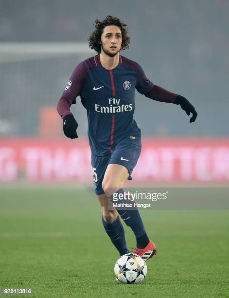 Adrien Rabiot of Paris controls the ball during the UEFA Champions League Round of 16 Second Leg match between Paris SaintGermain and Real Madrid at...