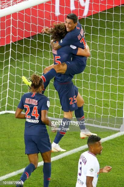 Adrien Rabiot of Paris Saint Germain and Angel Di Maria of Paris Saint Germain during the French Ligue 1 match between Paris Saint Germain and Caen...