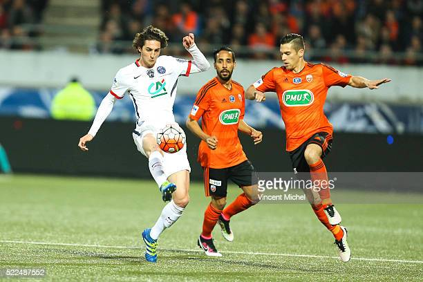 Adrien Rabiot of Paris Saint Germain and Maxime Barthelme of Lorient during the semifinal French Cup between Lorient and Paris SaintGermain at Stade...