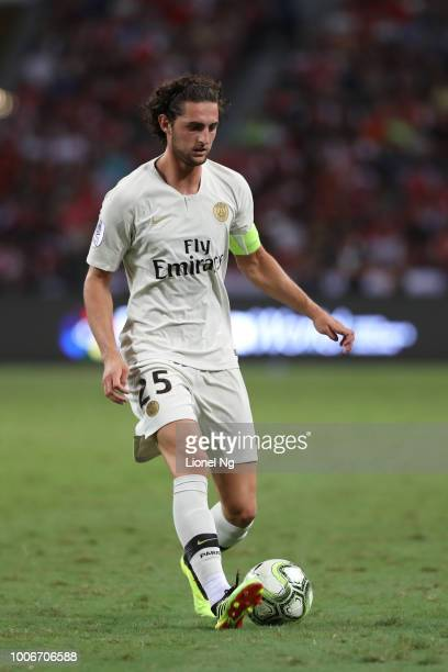Adrien Rabiot of Paris Saint Germain controls the ball during the International Champions Cup match between Arsenal and Paris Saint Germain at the...
